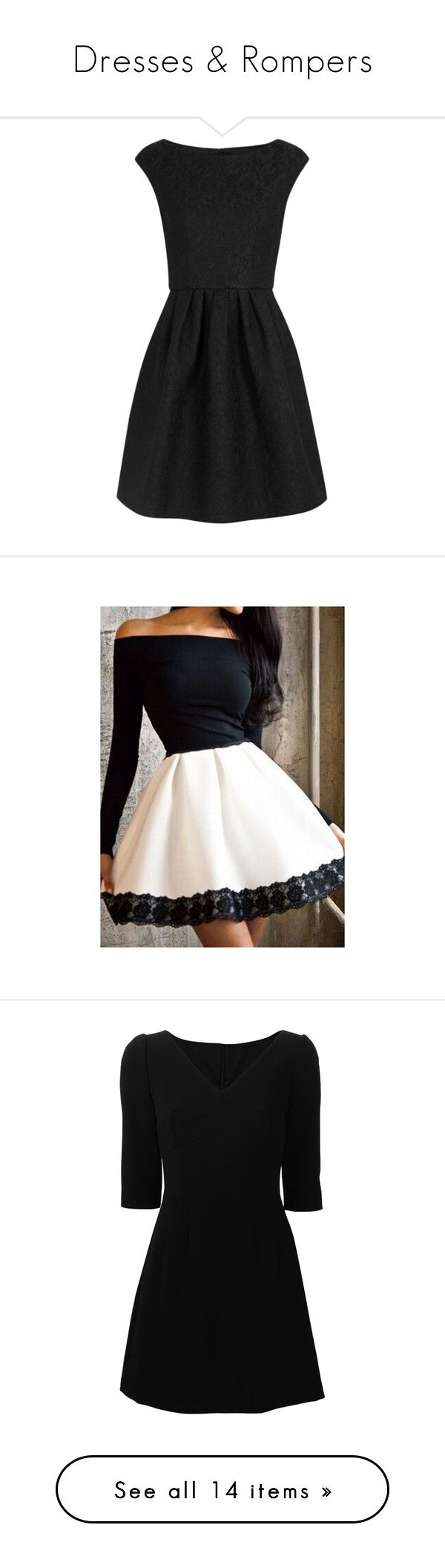 """""""Dresses & Rompers"""" by melissaxox123 on Polyvore featuring dresses, black circle skirt, black skater skirt, lace dress, black flared skirt, flare dress, vestidos, white, lace mini dress and long sleeve lace dress"""