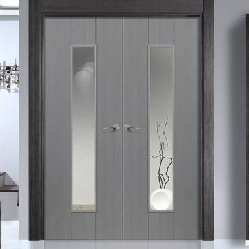 JBK Nuance Ardosia Slate Grey Flush Door Pair - Clear Safety Glass, Pre-finished