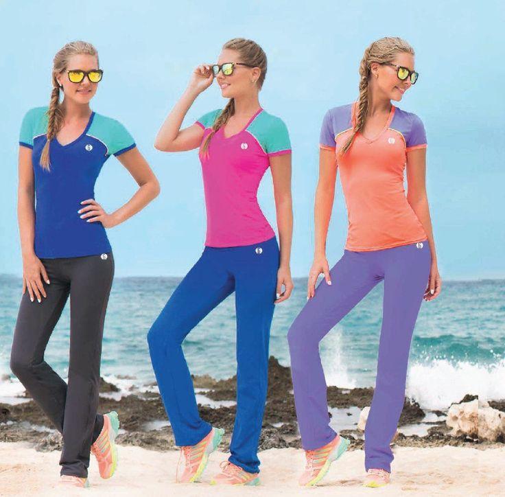 Garotas - Ref: 4789 Shirt and 4795 Pants. Size:S-M-L-XL. Material: Microfiber Nylon - Spandex. Colours: Black, Royal Blue, Mint, Salmon, Lilac, Neon Fuchsia.
