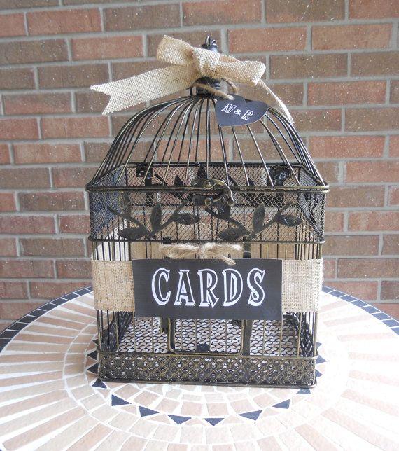 Birdcage Card Holder Bird Cage Wedding Money by Twenty3Design