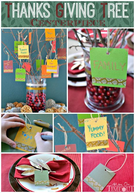 This Thanks Giving Tree Centerpiece  is a lovely, visual way for your family and guests to give thanks this year! | MomOnTimeout.com #sponso...