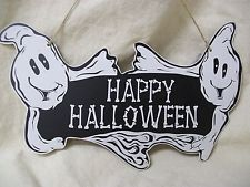 Cute Ghost Happy Halloween Banner Themed Sign Wall Decor Haunted House Plaque