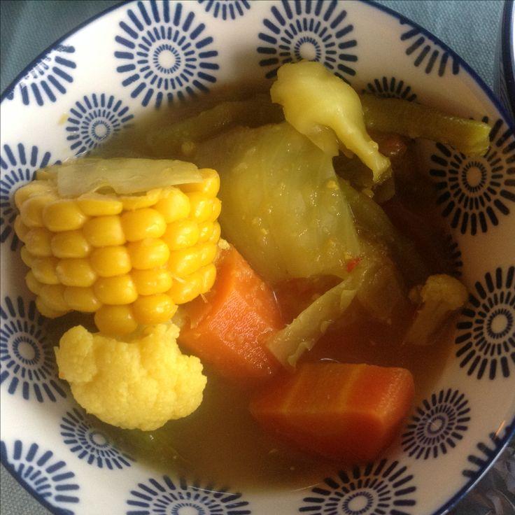Sayur assem, mixed vegetables in a tamarinde soup.