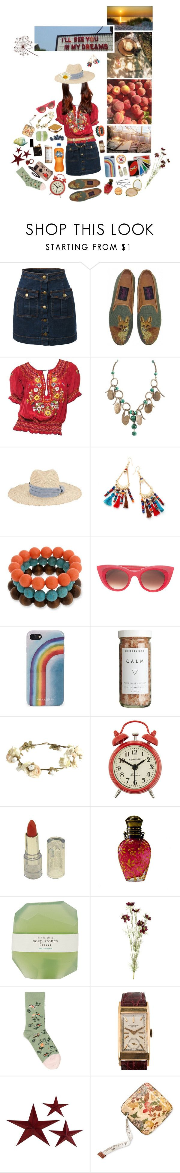 """""""summer of flowers"""" by whimsical-angst ❤ liked on Polyvore featuring LE3NO, Hat Attack, Erica Lyons, Thierry Lasry, Marc Jacobs, CB2, eliurpi, Newgate, Decades and Pelle"""