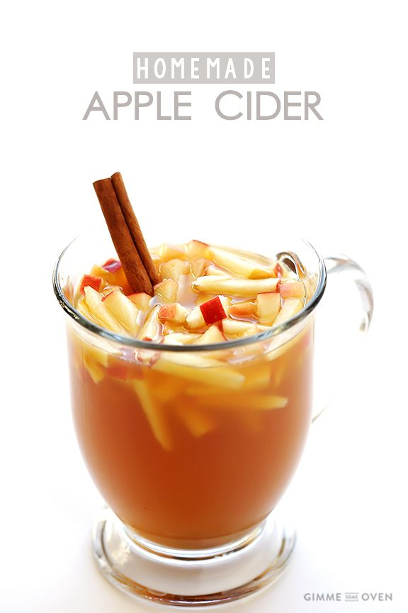 Homemade Apple Cider - infused with beautiful orange slices, cinnamon sticks and cloves. So much better than store bought.