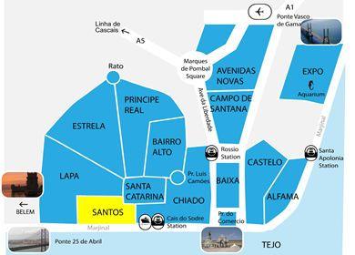 carte des quartiers de Lisbonne