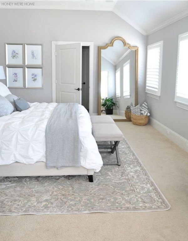 Peaceful, neutral master bedroom via Honey We're Home