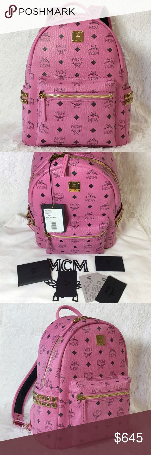 NEW MCM SMALL STUD VISETOS BACKPACK Authentic. Made in Italy. Brand new with tags. This backpack will come with care card and dust bag. PLEASE NO TRADE. THE PRICE IS FIRM. The ultimate hands-free accessory, crafted from signature Visetos-print coated canvas with side stud embellishment. Single top handle Adjustable shoulder straps Front zipped pocket 2 exterior flat side pockets with stud embellishment 2 interior pockets with sleeve for tablet storage Zip-around closure Faux nappa lining…