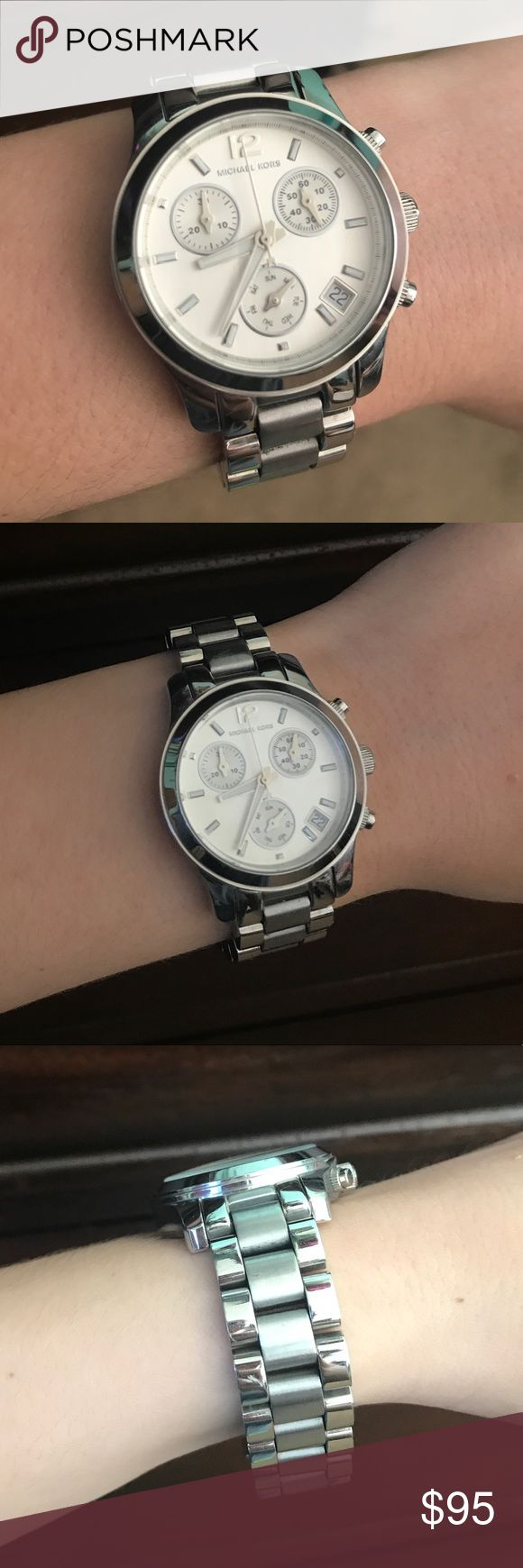 Michael Kors Silver Watch MK-5428 This listing is for an authentic Michael Kors silver watch in the style MK-5428. It is in good condition. There is an almost unnoticeable scratch on the face and very little wear on the silver band. It works perfectly! It has been sized so it fits nicely on a smaller wrist. Please make an offer if interested! :) Michael Kors Accessories Watches