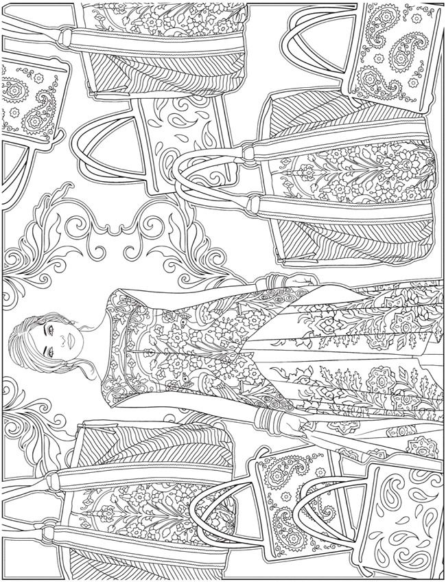 ESCAPES Fashion Art Coloring Book by: Marty Noble - Welcome to Dover Publications - Coloring Page 4