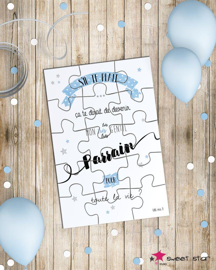 Annonce Parrain - Carte Puzzle et sa boîte surprise : Cartes par sweetstar