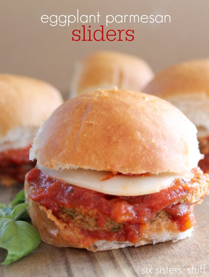 It's tailgating season! These Eggplant Parmesan Sliders are the perfect appetizer for the big game   SixSistersStuff.com