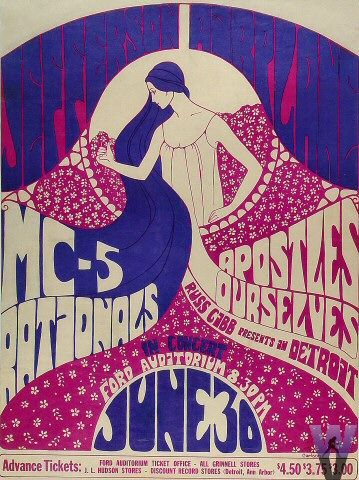 In the mid 60s there was one particular night club at the center of the universe: The Fillmore. And its performance posters also became phenomenal. I think they're still beautiful. Thanks to Bill Graham, Wes Wilson, Victor Moscoso and Stanley Mouse…