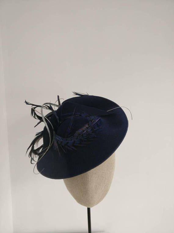 2fc81a8555026 Navy Velour Felt Saucer Hat - Navy Wedding Hat - Navy Duchess Kate style Hat  - Navy Oaks Day Headpiece - Goodwood - Ladbrokes Derby Day Hat in 2018