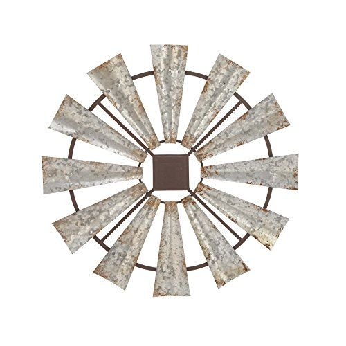 """Benzara Metal Wall Sculptures Bm118808 Benzara Farmhouse Styled Windmill Wall Decor, Small 30 X 30 X 1 Inches Black:   30"""""""" x 30"""""""" Rustic Reflections metal wall decor, wheel-shaped gray iron sculpture with a distressed finish, distressed black iron frame."""