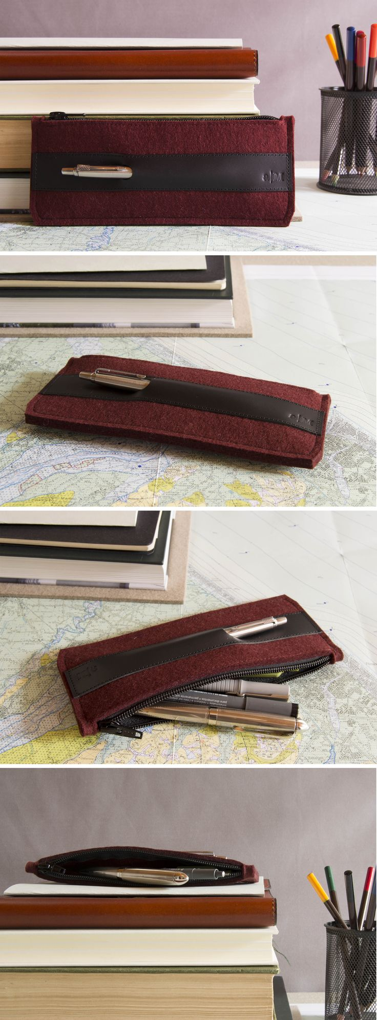 Stylish pencil case - 100% wool felt & vegetable tanned leather - made in Italy #penholder #pencilcase #case #feltcase #woolfelt #felt #feltaccessories #leather #feltandleather