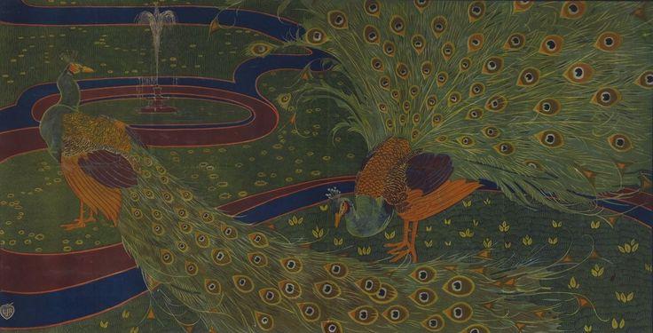 [Paons] : [panneau décoratif] ([Epreuve sans mention d'imprimeur ni d'éditeur])   Louis Rhead   1897   National Library Of France   Public Domain
