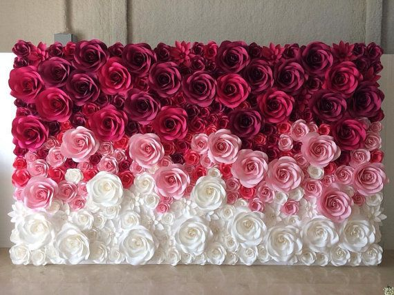 Large paper flowers can be used to create an amazing wedding backdrop, unique decorations, home decorations or any of your special events. To make this unique flowers we used high quality designer paper. Please contact us for custom orders and quantity discounts. Flowers are made to order; please allow us 3 to 5 days for single orders or 7 to 10 days for quantity orders. Contact us to rush orders. This listing is for 15 big paper roses in different sizes from 10 to 15 diameter and 3 small…