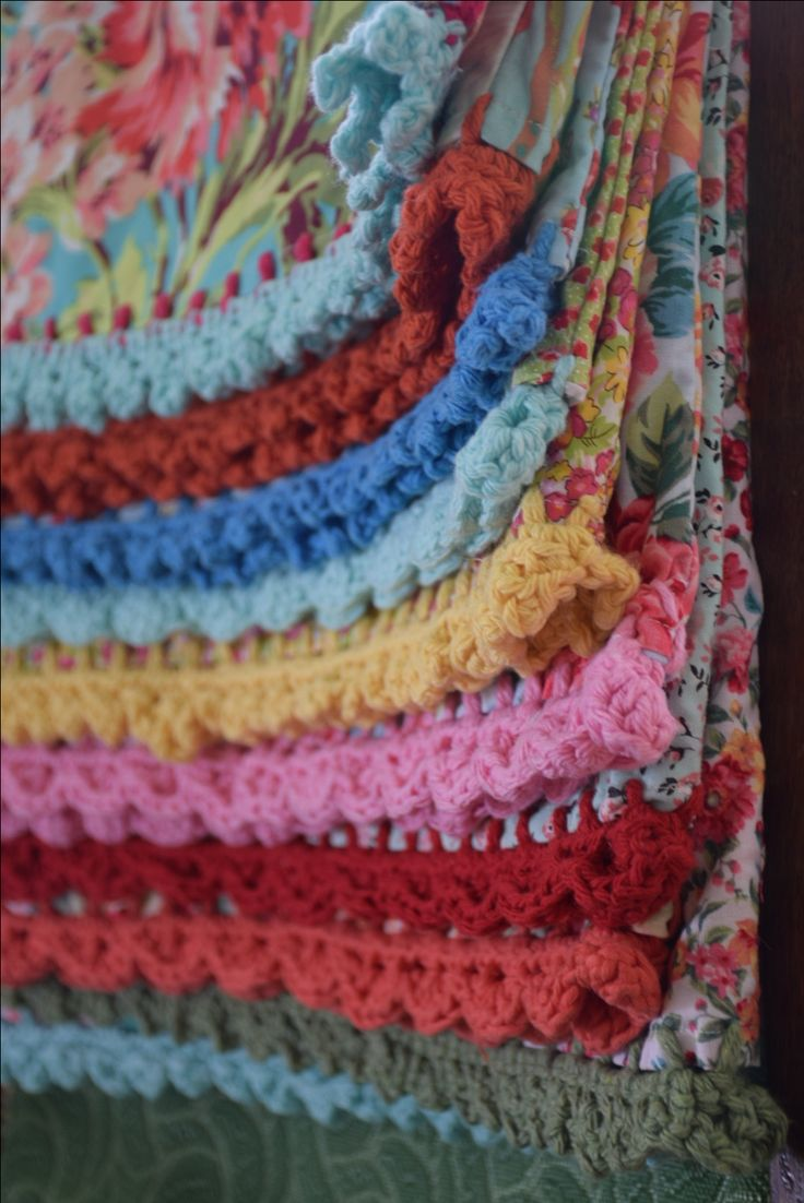 """Crochet-edged pillow cases with contrasting """"housewife"""" flaps"""