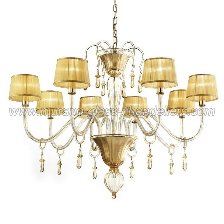 Splendid 8 Arms Murano Glass Chandelier With Fabric Lampshades Entirely Handn 24k Gold