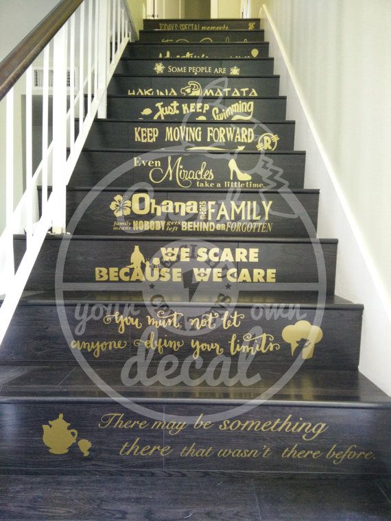These Disney inspired quotes will make any house look magical. Stick them on your stairs or walls, adding that magical touch.  Choose from on of the following or contact me for a custom design. • Aladdin – Like so many things, it's not what is outside, but what is inside that counts • Aladdin – Tell me princess, when did you last let your heart decide? • Aladdin 2 – Today's special moments are tomorrow's memories • Bambi - If you can't say nothin' nice, don't say nothin' at all • Beauty and…