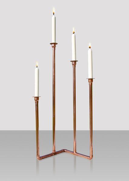 Kerzenständer vierflammig Boden von Aquadrat Kupfer-Design auf DaWanda.com