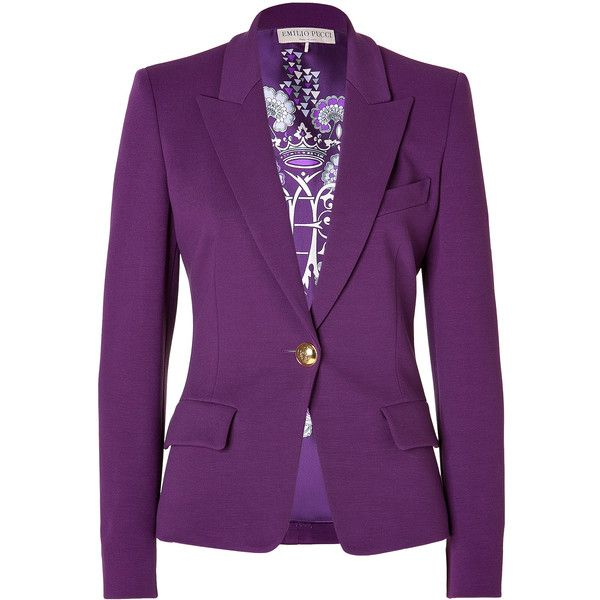 EMILIO PUCCI Blazer in Purple (30 430 UAH) ❤ liked on Polyvore featuring  outerwear 056864491f