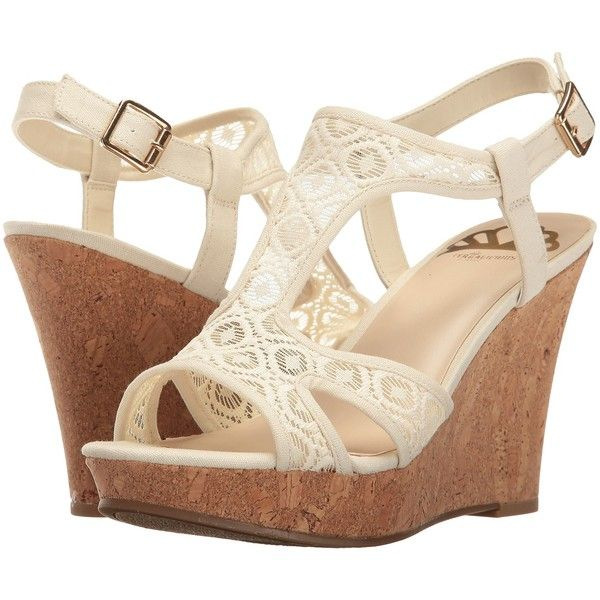 Fergalicious Kailyn (Cream) Women's Shoes ($43) ❤ liked on Polyvore featuring shoes, sandals, beige, cork platform sandals, cream sandals, platform wedge sandals, platform shoes and wedge heel sandals