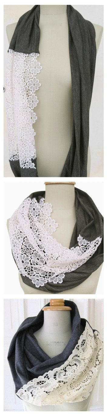 DIY Scarf; love the lace~bet you could combine this with the t-shirt scarf DIY ;)
