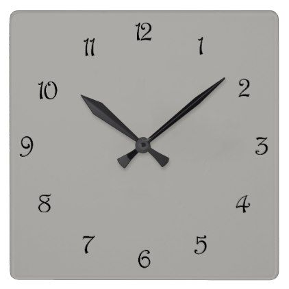 Black Script Numbers On Grey Wall Clock - script gifts template templates diy customize personalize special