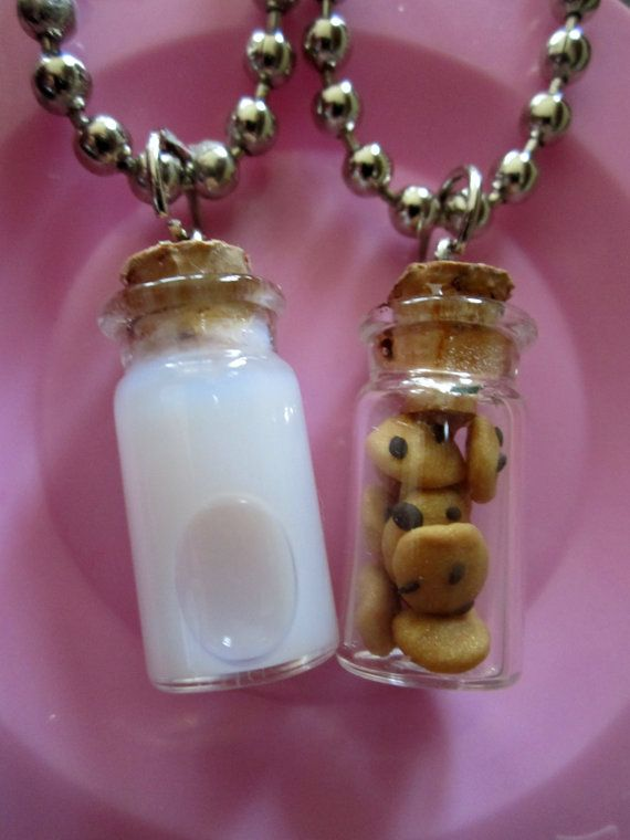 Milk and Cookie Best Friends Necklace by thegreatvorelli on Etsy, $17.00 So darn cute!