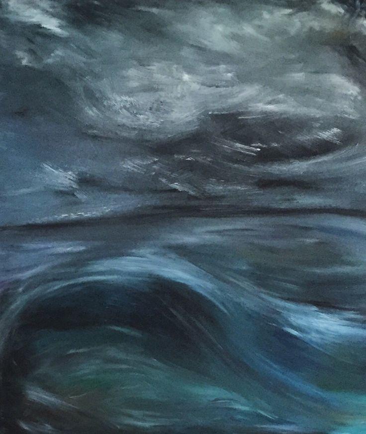 Tsunami over the ocean, 100x70cm, Oil on canvas