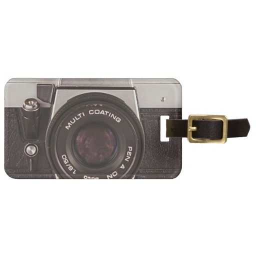 80's camera luggage tag