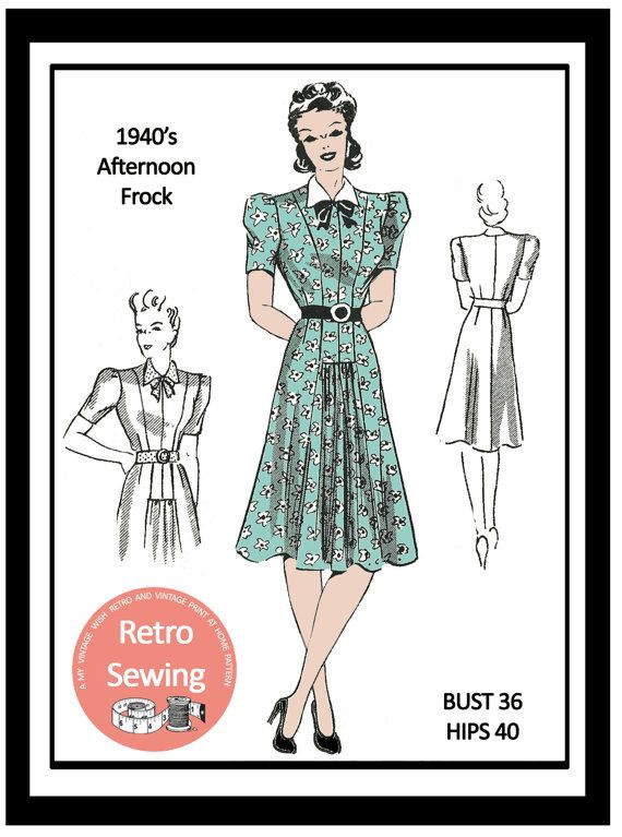 1940s Afternoon Frock Sewing Pattern   PDF Full by MyVintageWish