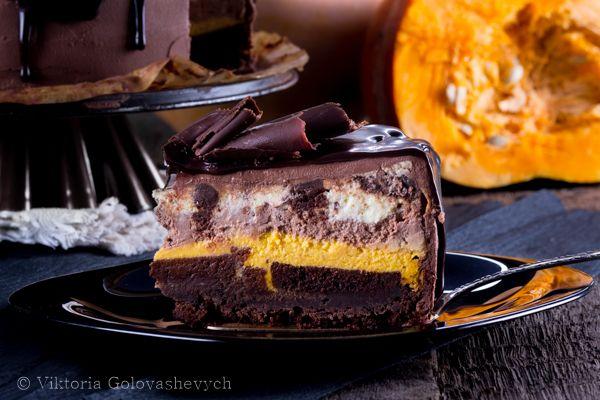 шоколадный чизкейк с тыквой и печеньем Орео