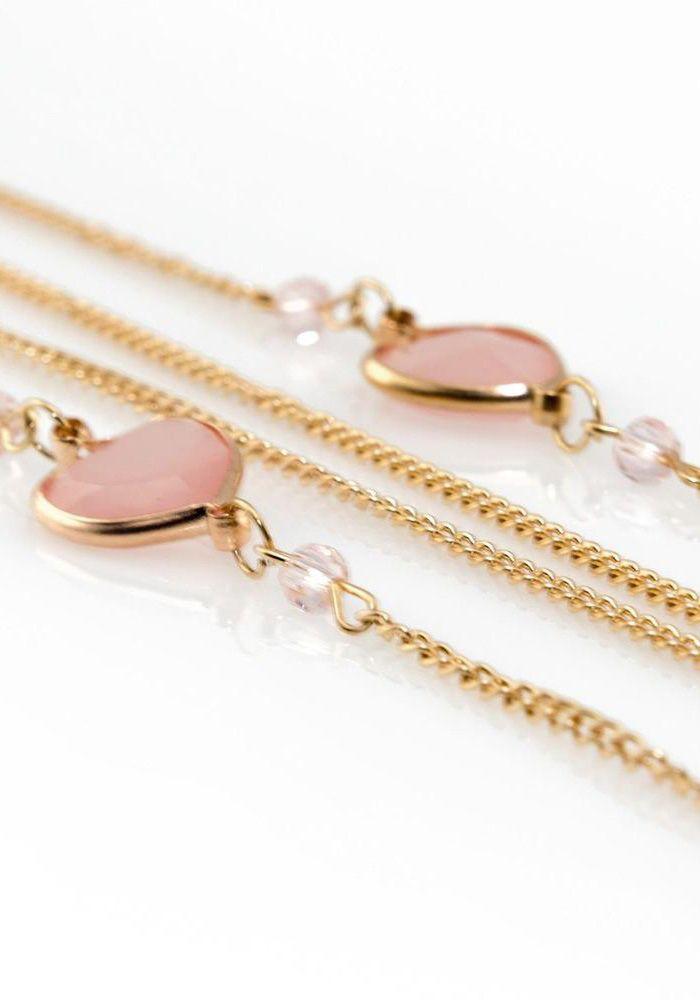 Κολιέ με χρυσή αλυσίδα, καρδούλες με ροζ η βεραμάν πέτρα και κρεμαστό τιρκουάζ  38cm