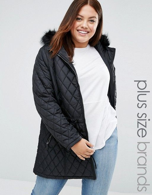 New Look Plus | New Look Quilted Jacket with Faux Fur Hood