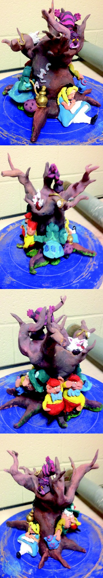 Students created a themed vessel. This was themed for Alice in wonderland which our students were reading in english. Made a great clay project for hig school students!