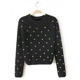 Black Long Sleeve Crown Embroidered Crop Sweater #celeb16 #Sweater