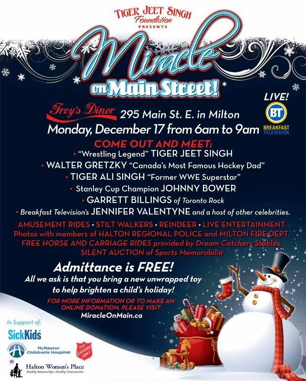 "Miracle on Main St:  Three years after it all began Troy's Toy Drive is set to grow even larger.  Renamed ""Miracle on Main St,"" it's set for December 17, 2012 from 6-9am.  A stretch of Main St. will be closed to make room for an amusement park complete with rides, reindeer, and entertainment."