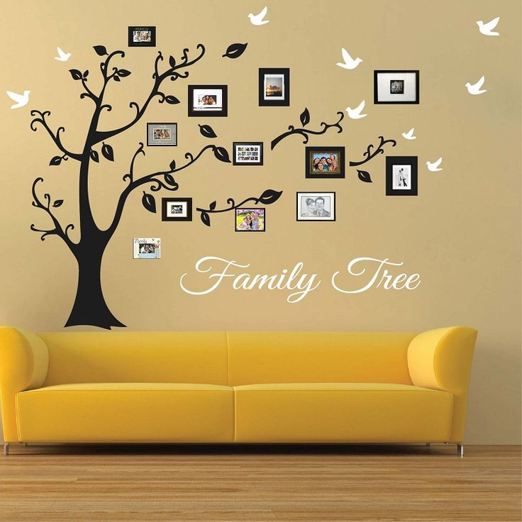 Picture Frame Family Tree Wall Art | Tree Wall Art, Tree Decals