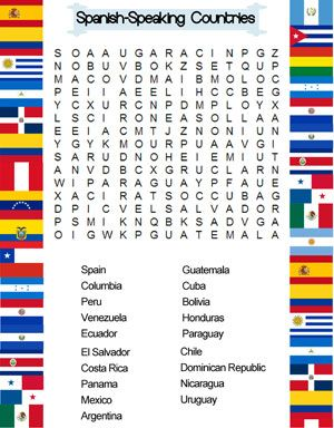 spanish speaking countries word search pa ses hispanohablantes pinterest search spanish. Black Bedroom Furniture Sets. Home Design Ideas