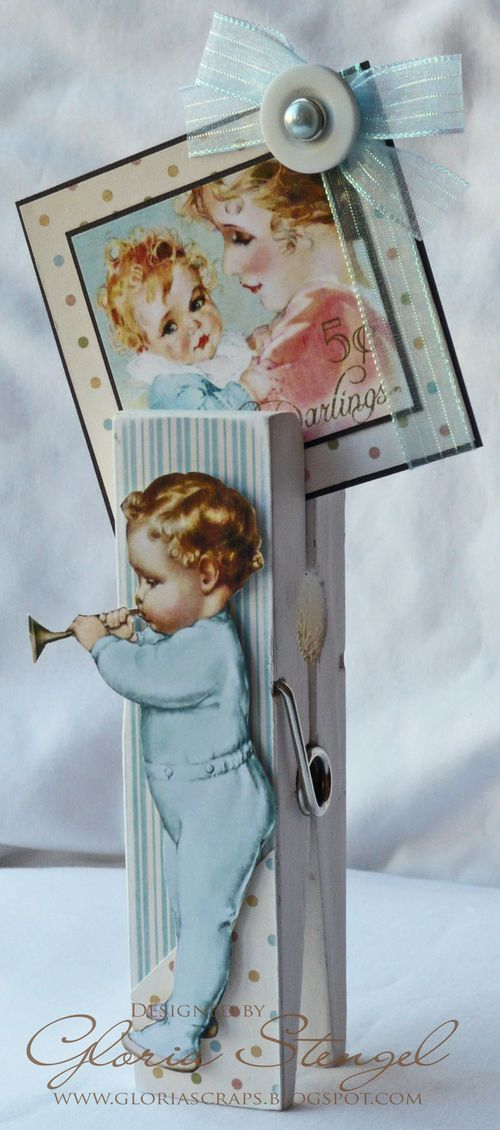 Include this clothespin with your gift card for a new baby in town! Little Darlings clothespin by @Gloria Stengel #graphic45