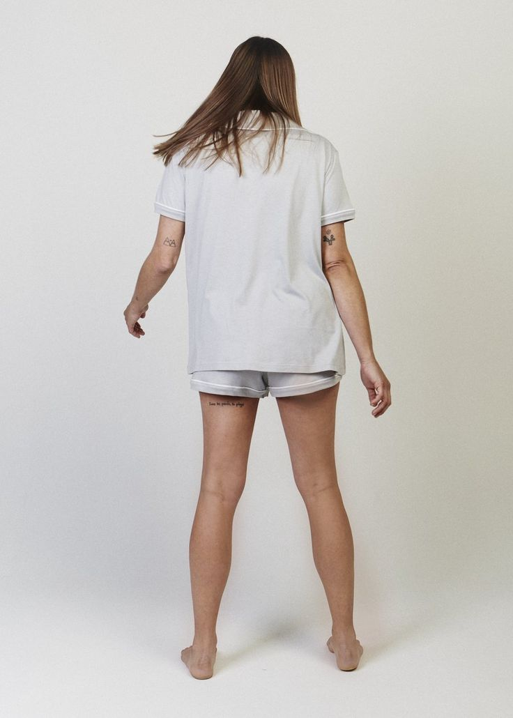 Sophie Short Sleeve Button-Down Pajama Shirt. Fancy enough for the couch. A comfortably oversized button down pyjama top with a collar and open neckline.