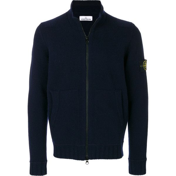 Stone Island logo patch zipped cardigan (1.265 BRL) ❤ liked on Polyvore featuring men's fashion, men's clothing, men's sweaters, blue, mens zip cardigan sweater, mens blue sweater, mens zipper sweater, mens cardigan sweaters and mens zip sweater