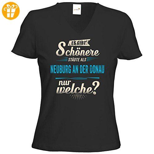 getshirts - RAHMENLOS® Geschenke - T-Shirt Damen V-Neck - Heimat Stadt - Neuburg an der Donau - blau - schwarz XXL (*Partner-Link)