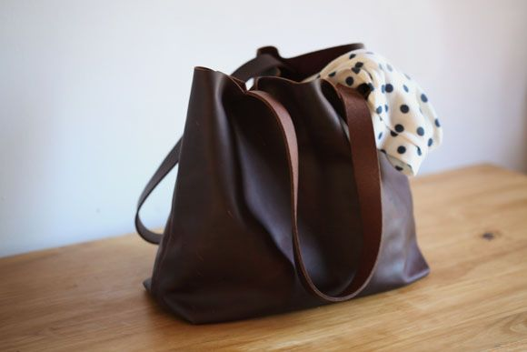 Brown leather tote bag by Bark and Mill