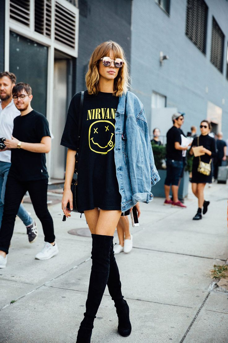 NYFW SS 2017 Street Style | Graphic band T-shirt dress, denim jacket, sunglasses, and over-the-knee suede boots