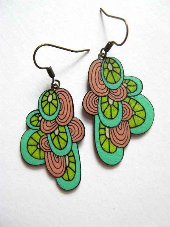 Shrink plastic doodles turned into earrings. Awesome! BrokenFingersArt on Etsy $28