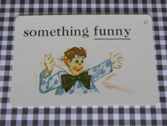 """Vintage 1962 """"Funny/Clown"""" Picture & Word Flash Card, Choice of English (funny), French (le clown), Spanish (el payaso), Whitman, Racine, WI"""